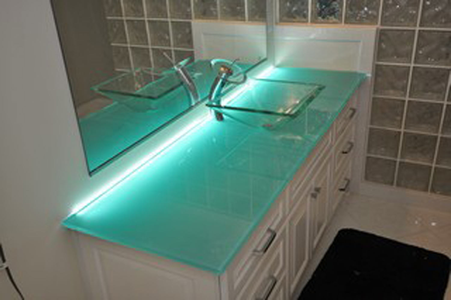 Vanity Top For Vessel Sink : Glass Vanity Top & Vessel Sink / Artistic Stone Design / VA